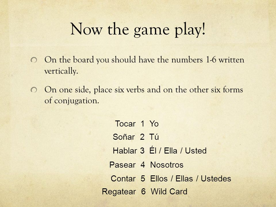 Now the game play! On the board you should have the numbers 1-6 written vertically. On one side, place six verbs and on the other six forms of conjuga