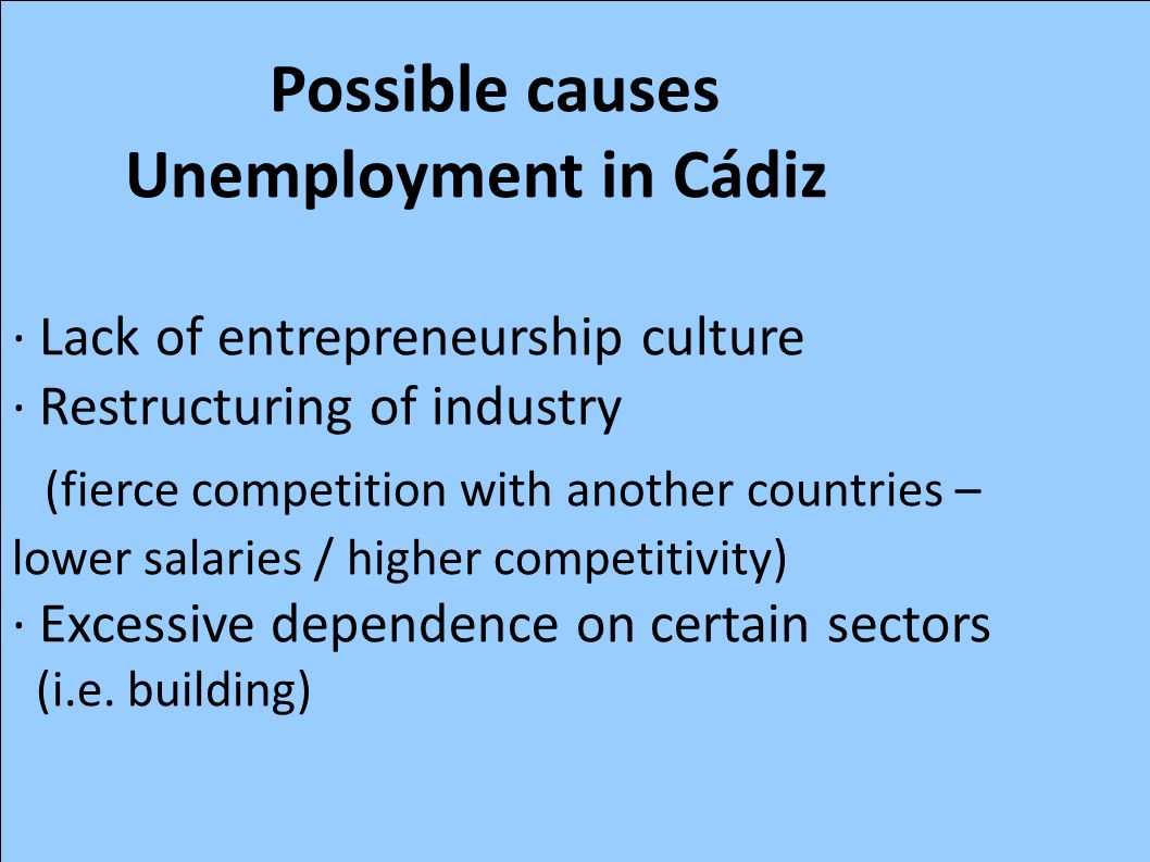 Possible causes Unemployment in Cádiz · Lack of entrepreneurship culture · Restructuring of industry (fierce competition with another countries – lowe