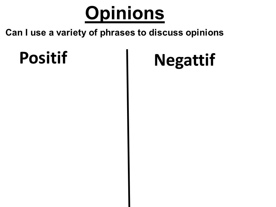 Positif Negattif Opinions Can I use a variety of phrases to discuss opinions