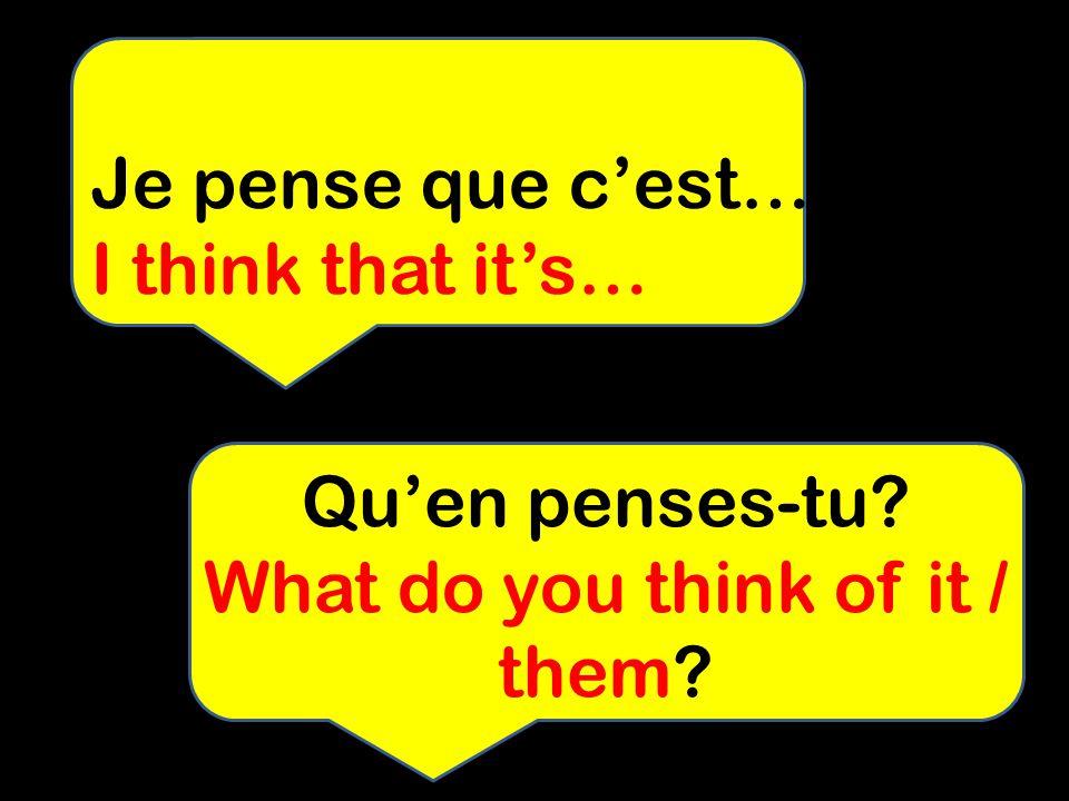 Quen penses-tu? What do you think of it / them? Je pense que cest….. I think that its…