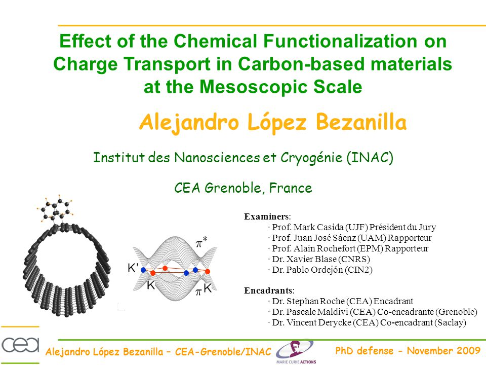 Alejandro López Bezanilla – CEA-Grenoble/INAC PhD defense - November 2009 Effect of the Chemical Functionalization on Charge Transport in Carbon-based