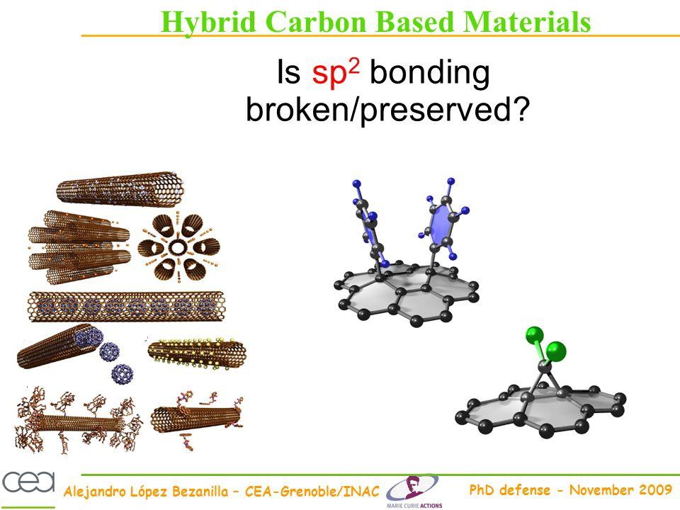 Alejandro López Bezanilla – CEA-Grenoble/INAC PhD defense - November 2009 Hybrid Carbon Based Materials Is sp 2 bonding broken/preserved?