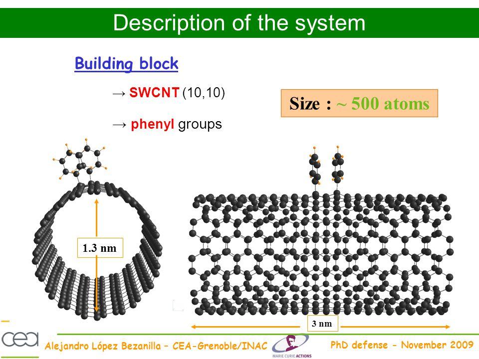 Alejandro López Bezanilla – CEA-Grenoble/INAC PhD defense - November 2009 Size : ~ 500 atoms Building block 1.3 nm 3 nm SWCNT (10,10) phenyl groups De