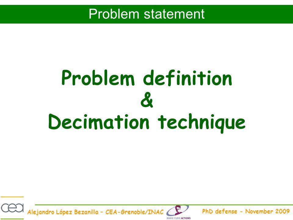 Alejandro López Bezanilla – CEA-Grenoble/INAC PhD defense - November 2009 Problem definition & Decimation technique Problem statement