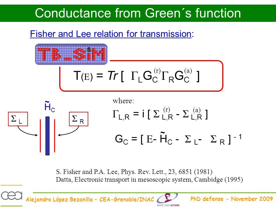 Alejandro López Bezanilla – CEA-Grenoble/INAC PhD defense - November 2009 Conductance from Green´s function T ( E ) = Tr [ Γ L G C Γ R G C ] (r)(a) Γ