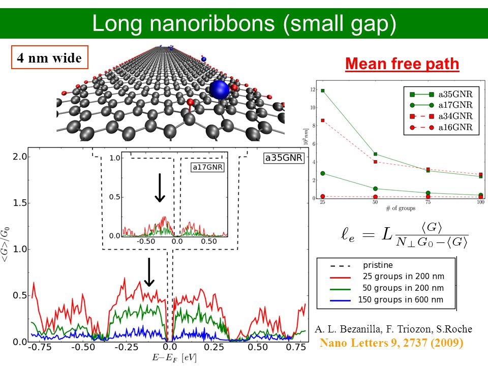 Alejandro López Bezanilla – CEA-Grenoble/INAC PhD defense - November 2009 Long nanoribbons (small gap) Mean free path 4 nm wide A. L. Bezanilla, F. Tr
