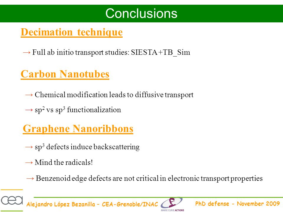 Alejandro López Bezanilla – CEA-Grenoble/INAC PhD defense - November 2009 Conclusions Full ab initio transport studies: SIESTA +TB_Sim sp 2 vs sp 3 fu