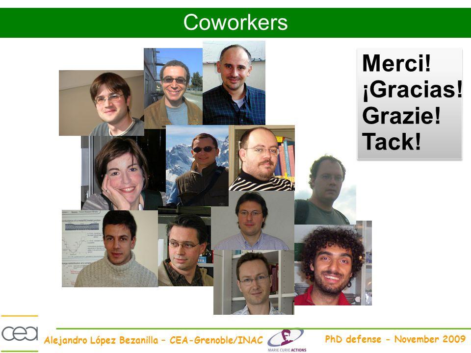 Alejandro López Bezanilla – CEA-Grenoble/INAC PhD defense - November 2009 Coworkers Merci! ¡Gracias! Grazie! Tack! Merci! ¡Gracias! Grazie! Tack!