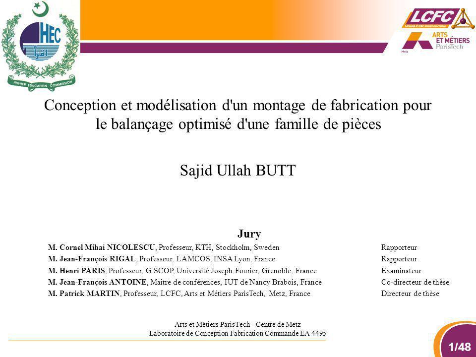 1/48 Sajid Ullah BUTT Conception et modélisation d'un montage de fabrication pour le balançage optimisé d'une famille de pièces Arts et Métiers ParisT