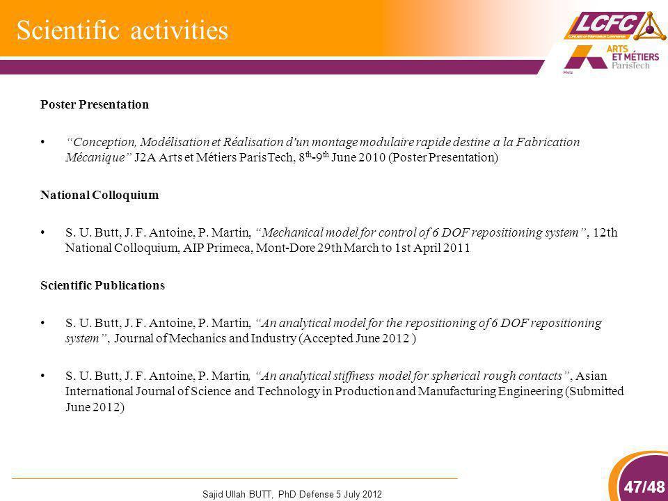 47/48 Scientific activities Poster Presentation Conception, Modélisation et Réalisation d'un montage modulaire rapide destine a la Fabrication Mécaniq
