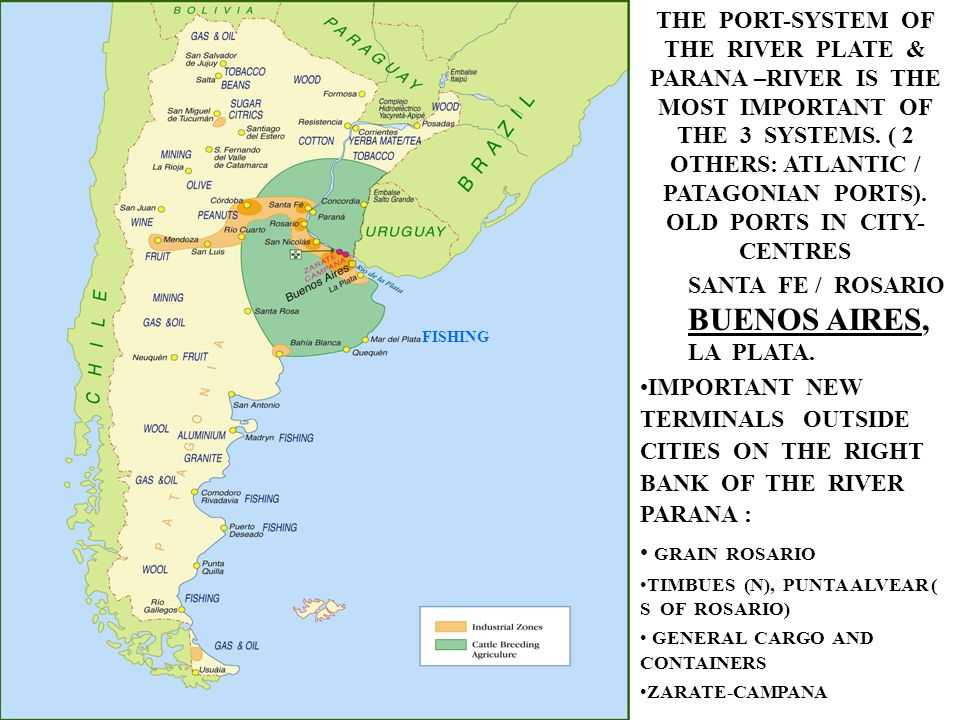 THE PORT-SYSTEM OF THE RIVER PLATE & PARANA –RIVER IS THE MOST IMPORTANT OF THE 3 SYSTEMS. ( 2 OTHERS: ATLANTIC / PATAGONIAN PORTS). OLD PORTS IN CITY