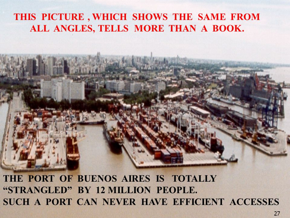 THE PORT OF BUENOS AIRES IS TOTALLY STRANGLED BY 12 MILLION PEOPLE. SUCH A PORT CAN NEVER HAVE EFFICIENT ACCESSES 27 THIS PICTURE, WHICH SHOWS THE SAM