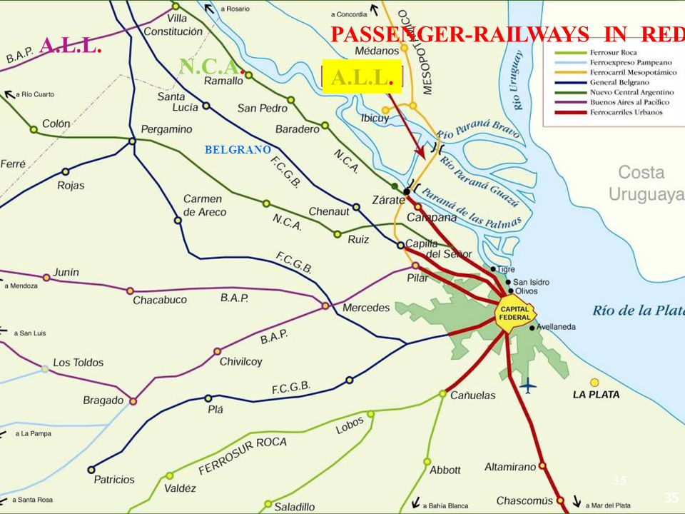 35 PASSENGER-RAILWAYS IN RED A.L.L. N.C.A. BELGRANO