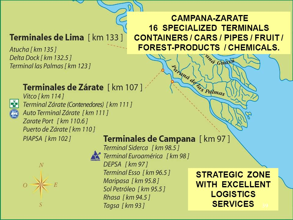 CAMPANA-ZARATE 16 SPECIALIZED TERMINALS CONTAINERS / CARS / PIPES / FRUIT / FOREST-PRODUCTS / CHEMICALS. STRATEGIC ZONE WITH EXCELLENT LOGISTICS SERVI