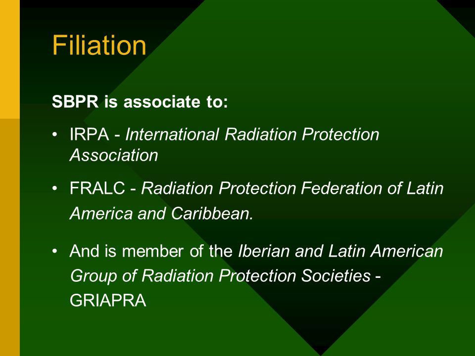 Filiation IRPA - International Radiation Protection Association IRPA is an association of 17,000 individuals joining through 48 national societies in 60 countries worlwide.