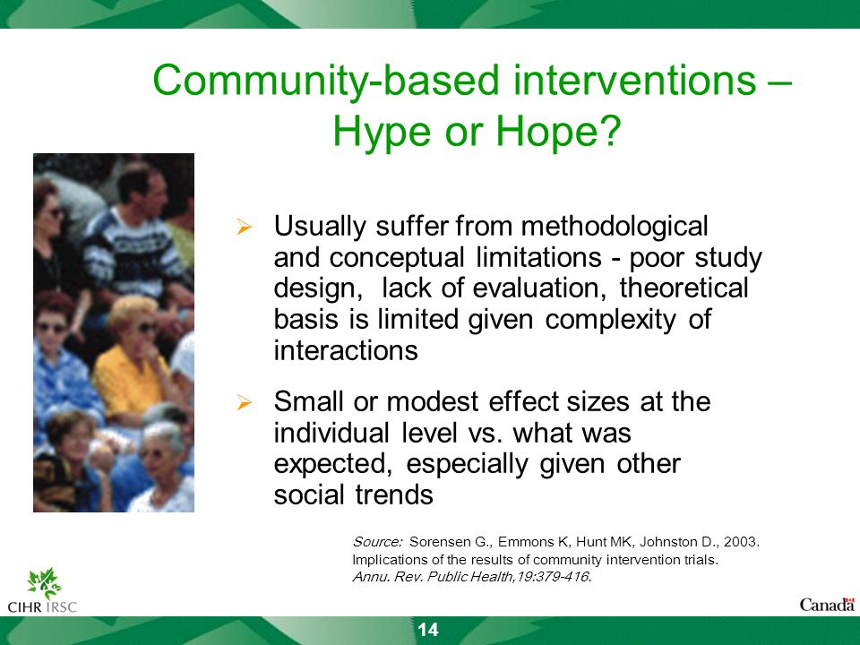 14 Community-based interventions – Hype or Hope.