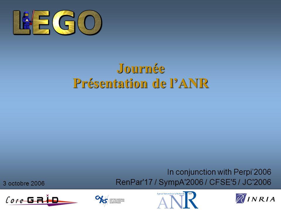 Journée Présentation de lANR In conjunction with Perpi2006 RenPar 17 / SympA 2006 / CFSE 5 / JC 2006 3 octobre 2006
