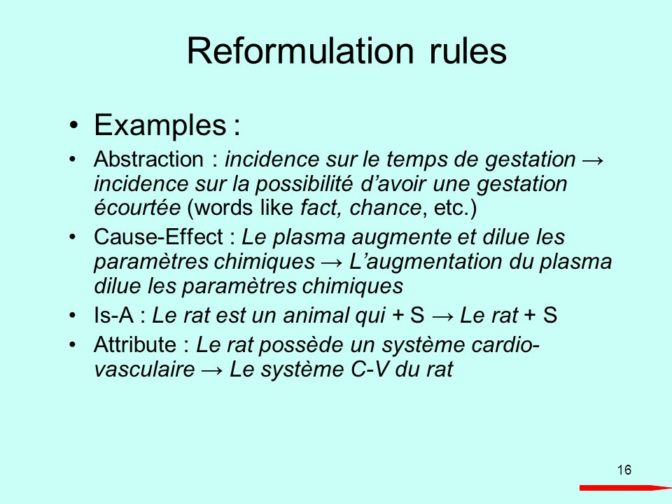16 Reformulation rules Examples : Abstraction : incidence sur le temps de gestation incidence sur la possibilité davoir une gestation écourtée (words