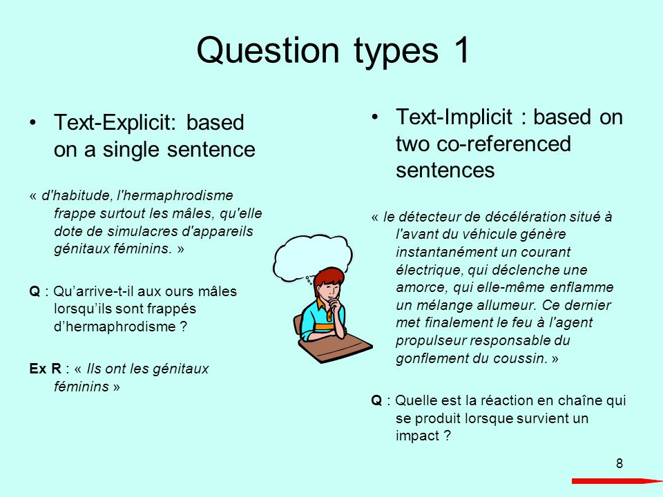 8 Question types 1 Text-Explicit: based on a single sentence « d'habitude, l'hermaphrodisme frappe surtout les mâles, qu'elle dote de simulacres d'app