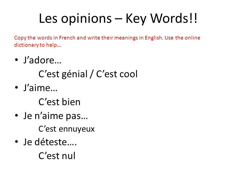 Les opinions – Key Words!! Jadore… Cest génial / Cest cool Jaime… Cest bien Je naime pas… Cest ennuyeux Je déteste…. Cest nul Copy the words in French