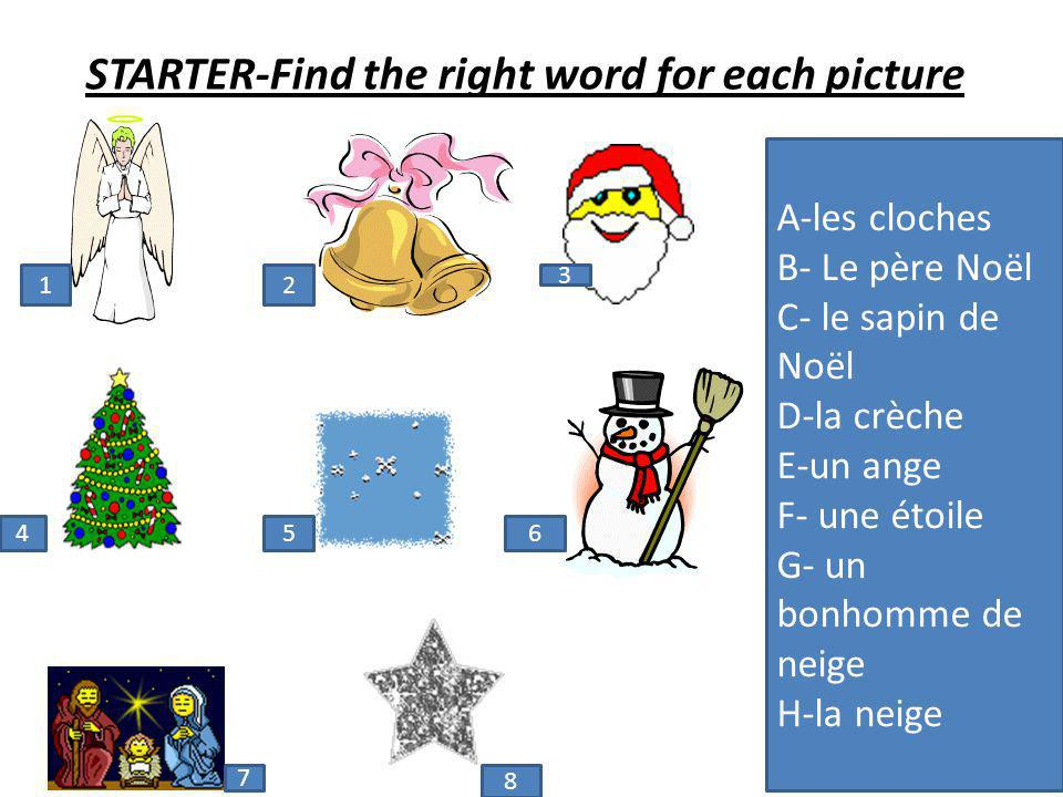 STARTER-Find the right word for each picture A-les cloches B- Le père Noël C- le sapin de Noël D-la crèche E-un ange F- une étoile G- un bonhomme de neige H-la neige