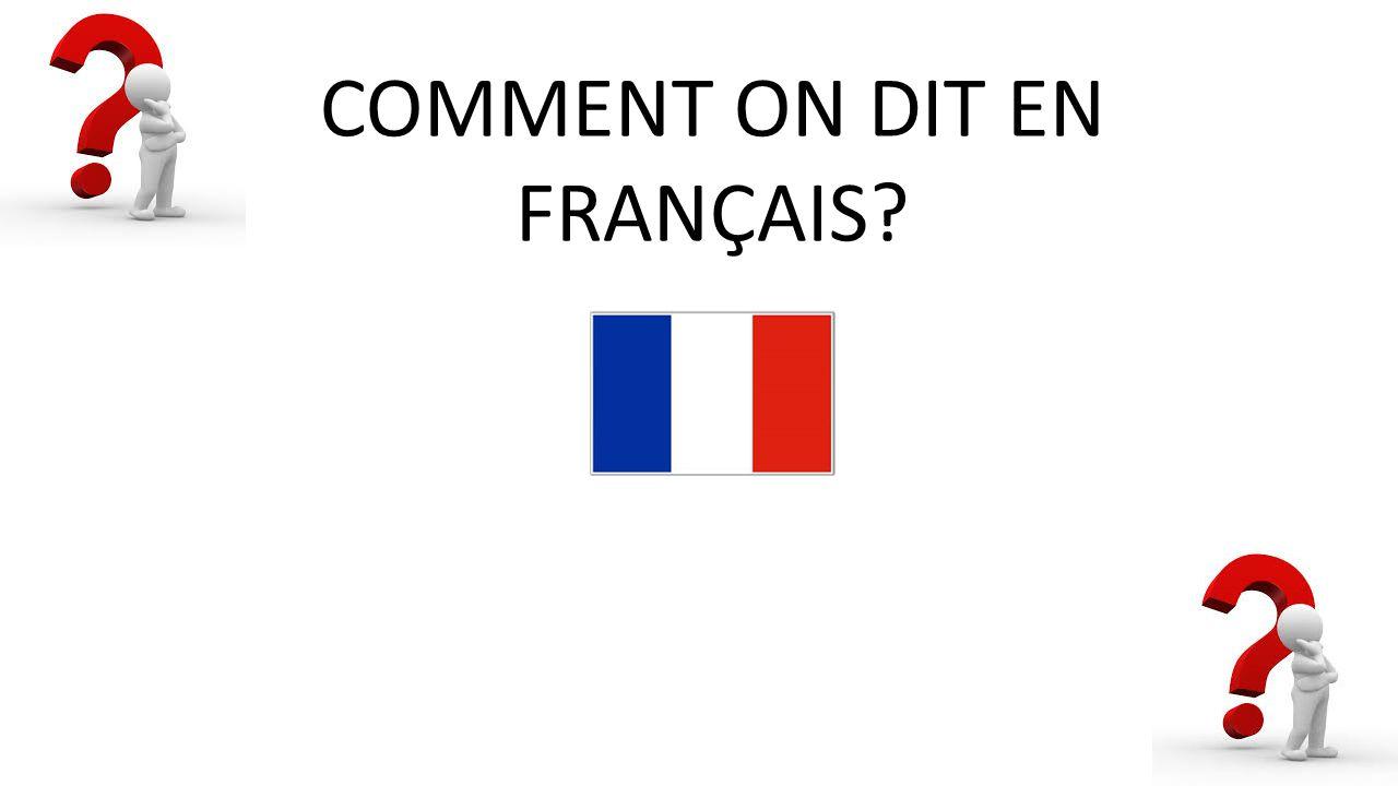 COMMENT ON DIT EN FRANÇAIS?