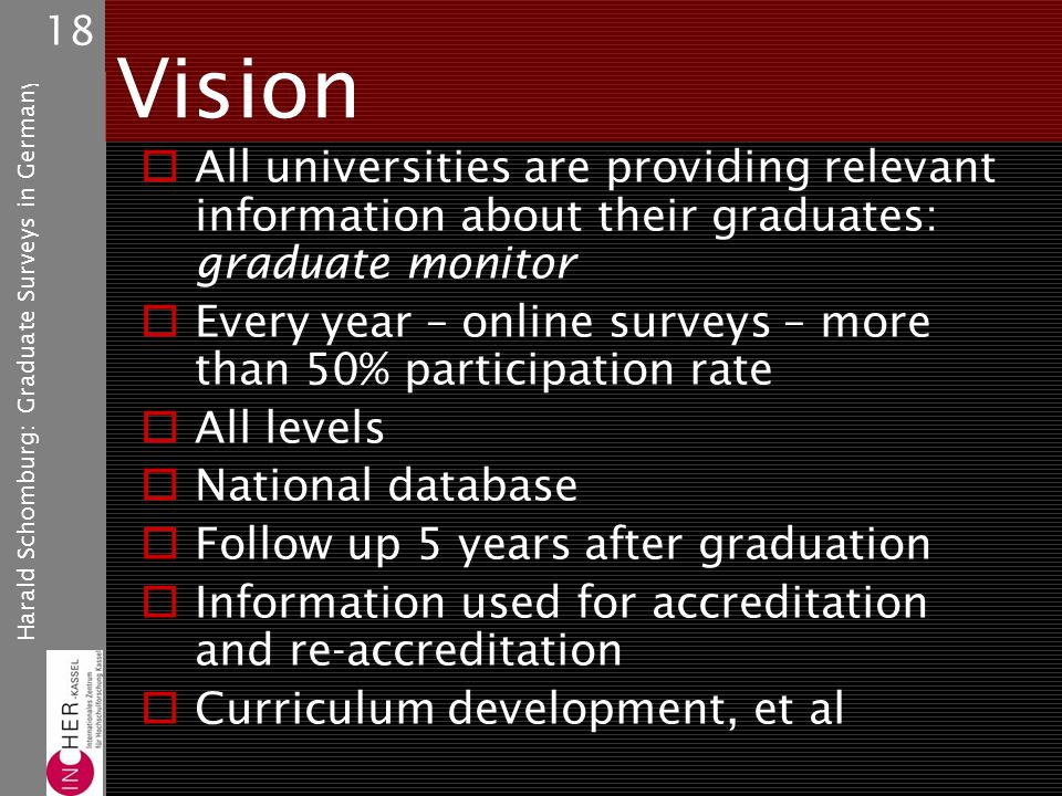 Harald Schomburg: Graduate Surveys in Germany 18 Vision All universities are providing relevant information about their graduates: graduate monitor Every year – online surveys – more than 50% participation rate All levels National database Follow up 5 years after graduation Information used for accreditation and re-accreditation Curriculum development, et al