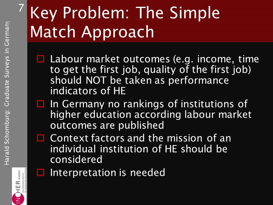 Harald Schomburg: Graduate Surveys in Germany 7 Key Problem: The Simple Match Approach Labour market outcomes (e.g.