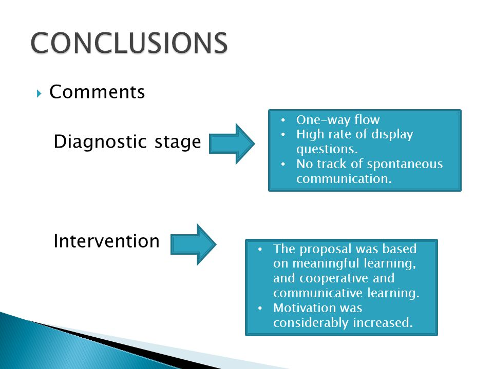 Comments Diagnostic stage Intervention One-way flow High rate of display questions.