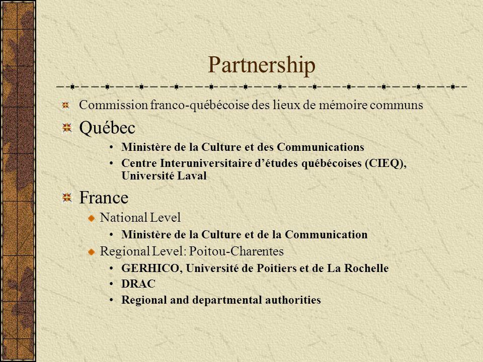Partnership Commission franco-québécoise des lieux de mémoire communs Québec Ministère de la Culture et des Communications Centre Interuniversitaire d