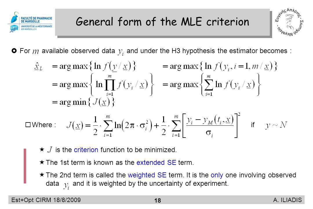 Est+Opt CIRM 18/8/2009 A. ILIADIS 18 General form of the MLE criterion For available observed data and under the H3 hypothesis the estimator becomes :