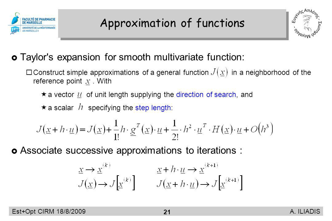 Est+Opt CIRM 18/8/2009 A. ILIADIS 21 Taylor's expansion for smooth multivariate function: Construct simple approximations of a general function in a n