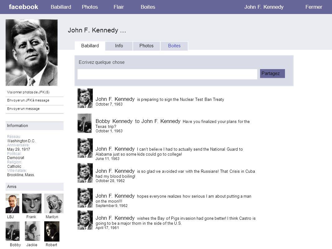facebook John F. Kennedy … Babillard PhotosFlair Boites John F. Kennedy Fermer Visionner photos de JFK (5) Envoyer un JFK à message Envoyer un message