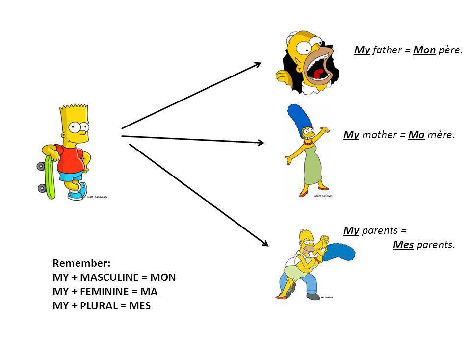 My father = Mon père. My mother = Ma mère. My parents = Mes parents. Remember: MY + MASCULINE = MON MY + FEMININE = MA MY + PLURAL = MES