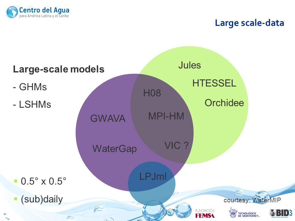 Large scale-data Large-scale models - GHMs - LSHMs 0.5° x 0.5° (sub)daily HTESSEL WaterGap H08 GWAVA VIC ? Jules LPJml MPI-HM Orchidee courtesy: Water