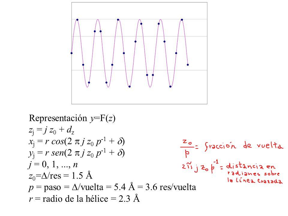 Representación y=F(z) z j = j z 0 + d z x j = r cos(2 j z 0 p -1 + ) y j = r sen(2 j z 0 p -1 + ) j = 0, 1,..., n z 0 = /res = 1.5 Å p = paso = /vuelt
