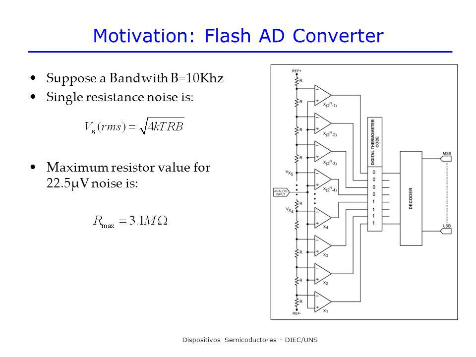 Dispositivos Semicoductores - DIEC/UNS Motivation: Flash AD Converter Suppose a Bandwith B=10Khz Single resistance noise is: Maximum resistor value fo