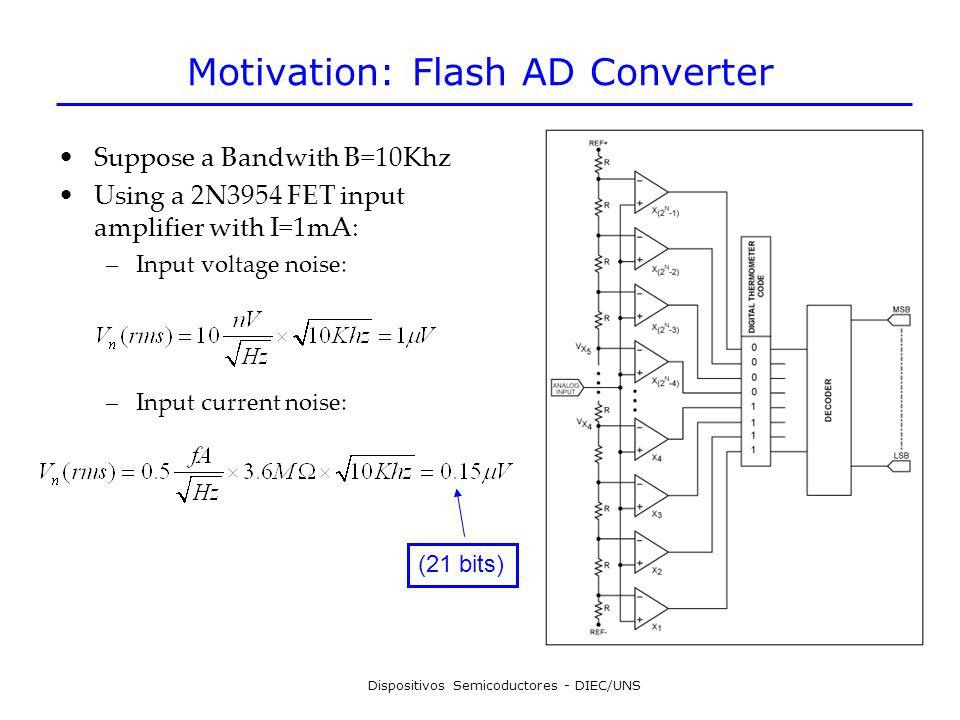 Dispositivos Semicoductores - DIEC/UNS Motivation: Flash AD Converter Suppose a Bandwith B=10Khz Using a 2N3954 FET input amplifier with I=1mA: –Input