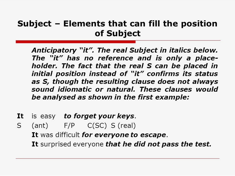 Subject – Elements that can fill the position of Subject Anticipatory it.