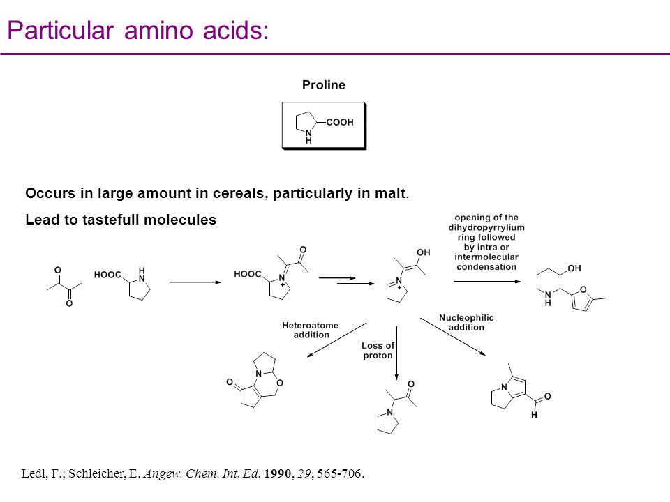 Particular amino acids: Ledl, F.; Schleicher, E. Angew. Chem. Int. Ed. 1990, 29, 565-706. Occurs in large amount in cereals, particularly in malt. Lea