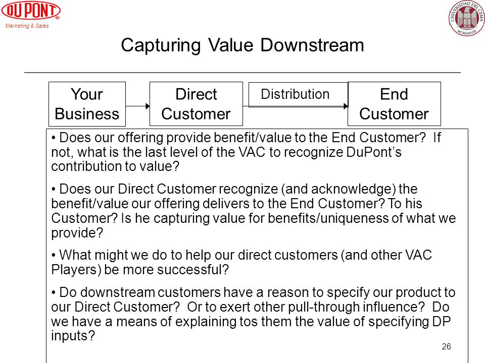 Marketing & Sales 26 Capturing Value Downstream Direct Customer Your Business End Customer Does our offering provide benefit/value to the End Customer.