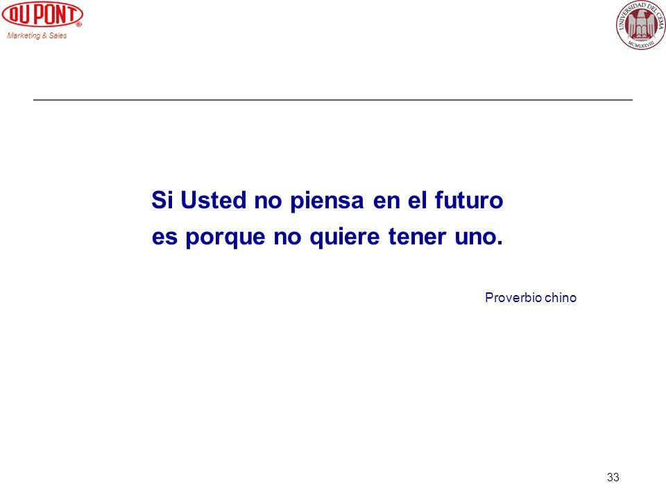Marketing & Sales 33 Si Usted no piensa en el futuro es porque no quiere tener uno. Proverbio chino