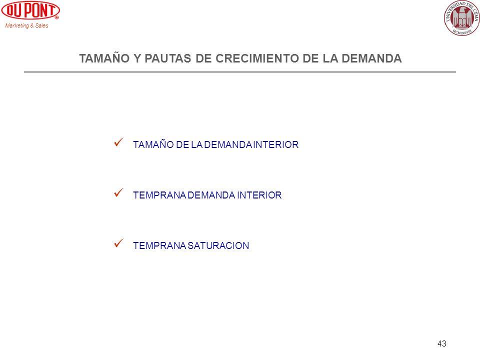 Marketing & Sales 43 TAMAÑO Y PAUTAS DE CRECIMIENTO DE LA DEMANDA TAMAÑO DE LA DEMANDA INTERIOR TEMPRANA DEMANDA INTERIOR TEMPRANA SATURACION