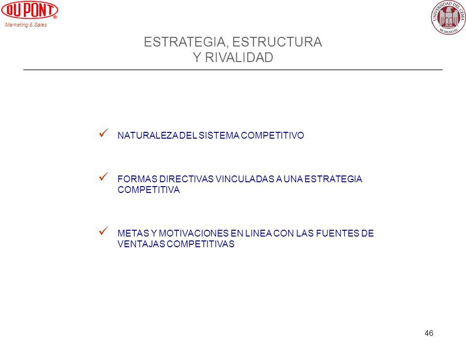 Marketing & Sales 46 ESTRATEGIA, ESTRUCTURA Y RIVALIDAD NATURALEZA DEL SISTEMA COMPETITIVO FORMAS DIRECTIVAS VINCULADAS A UNA ESTRATEGIA COMPETITIVA METAS Y MOTIVACIONES EN LINEA CON LAS FUENTES DE VENTAJAS COMPETITIVAS