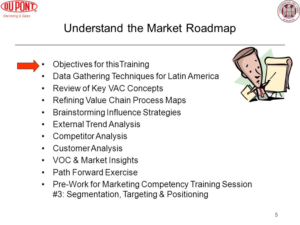 Marketing & Sales 5 Objectives for thisTraining Data Gathering Techniques for Latin America Review of Key VAC Concepts Refining Value Chain Process Maps Brainstorming Influence Strategies External Trend Analysis Competitor Analysis Customer Analysis VOC & Market Insights Path Forward Exercise Pre-Work for Marketing Competency Training Session #3: Segmentation, Targeting & Positioning Understand the Market Roadmap