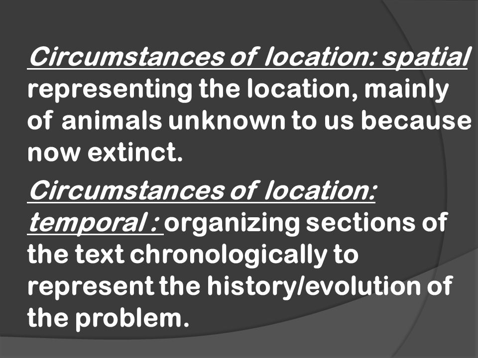 Circumstances of location: spatial representing the location, mainly of animals unknown to us because now extinct.