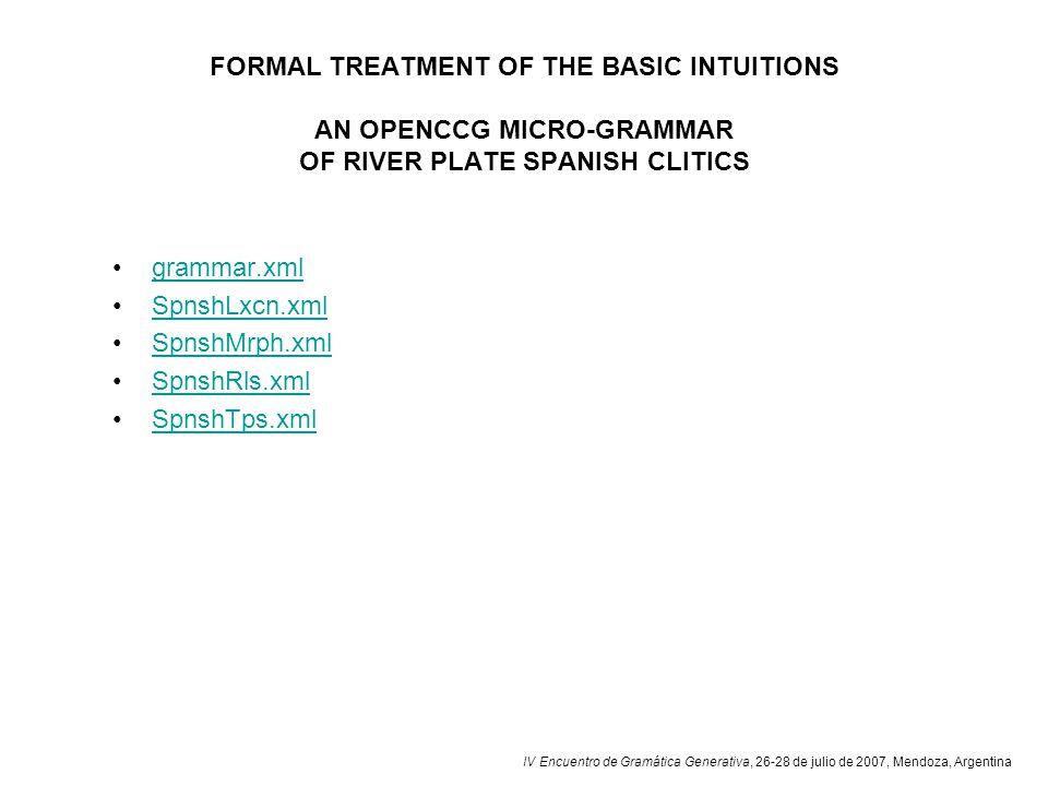 IV Encuentro de Gramática Generativa, 26-28 de julio de 2007, Mendoza, Argentina FORMAL TREATMENT OF THE BASIC INTUITIONS AN OPENCCG MICRO-GRAMMAR OF RIVER PLATE SPANISH CLITICS grammar.xml SpnshLxcn.xml SpnshMrph.xml SpnshRls.xml SpnshTps.xml