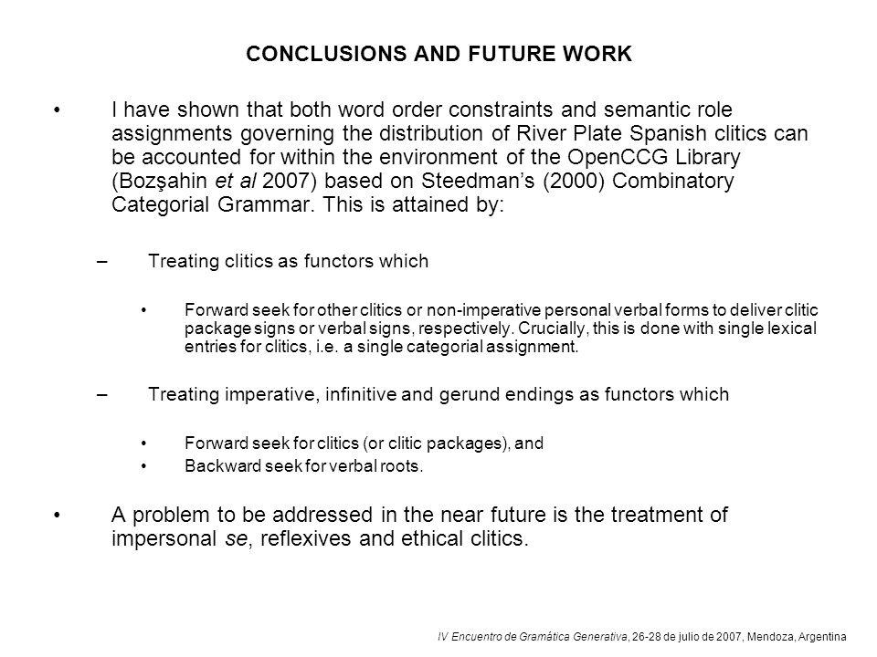 IV Encuentro de Gramática Generativa, 26-28 de julio de 2007, Mendoza, Argentina CONCLUSIONS AND FUTURE WORK I have shown that both word order constra