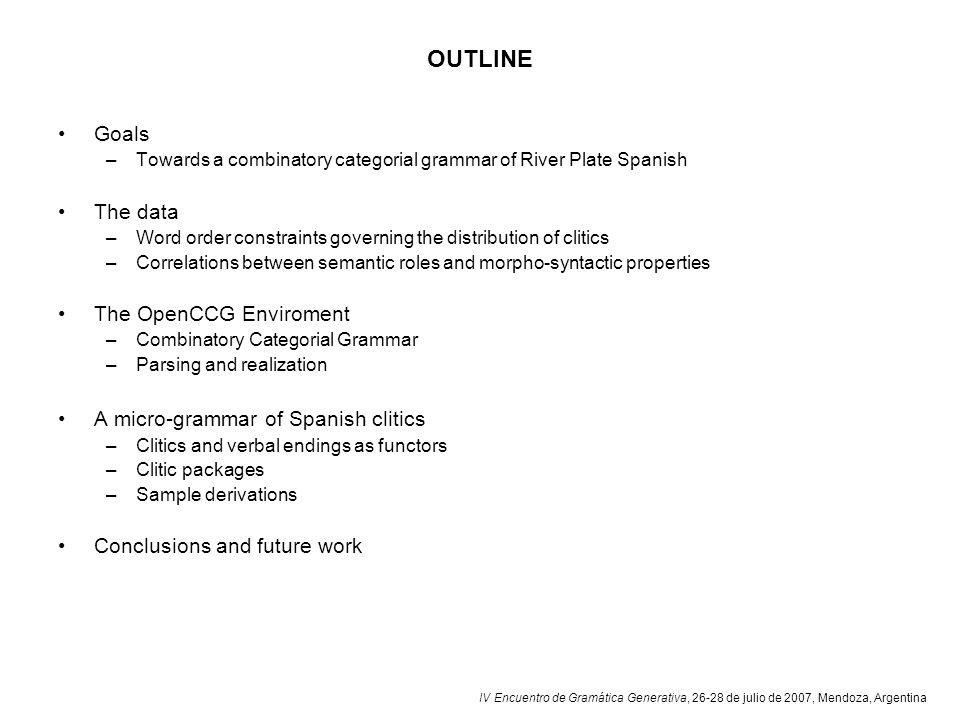 IV Encuentro de Gramática Generativa, 26-28 de julio de 2007, Mendoza, Argentina OUTLINE Goals –Towards a combinatory categorial grammar of River Plat