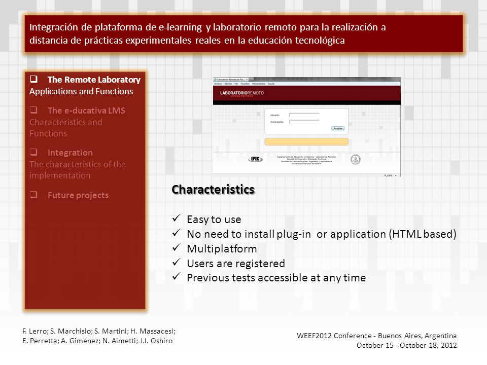 The Remote Laboratory Applications and Functions The e-ducativa LMS Characteristics and Functions Integration The characteristics of the implementatio